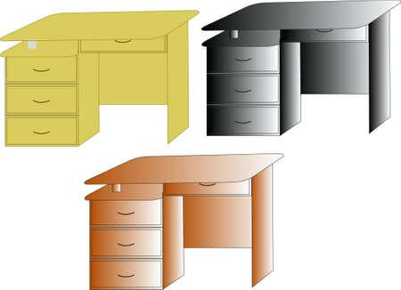 three vector desktops of different color Illustration