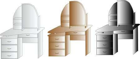 three dressing tables of different color