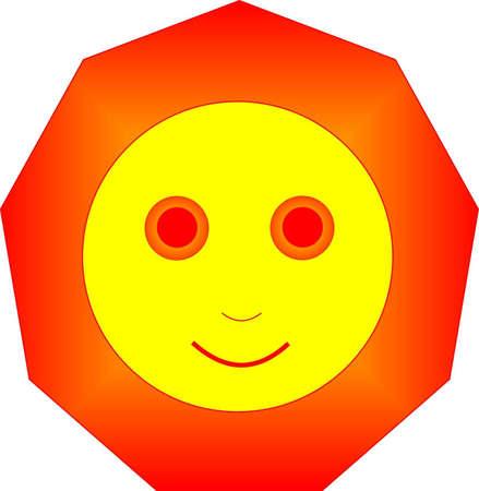 The bright sun looks cheerfully