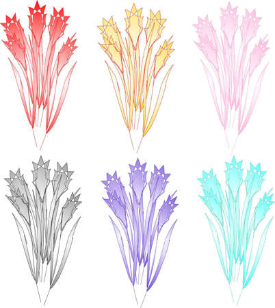 Artificial flowers of different color Illustration