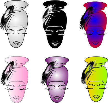 Woman s faces of different color