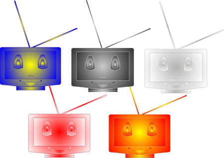 Group of TVs of different color