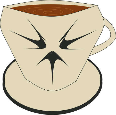 cup of coffee on a saucer Illustration