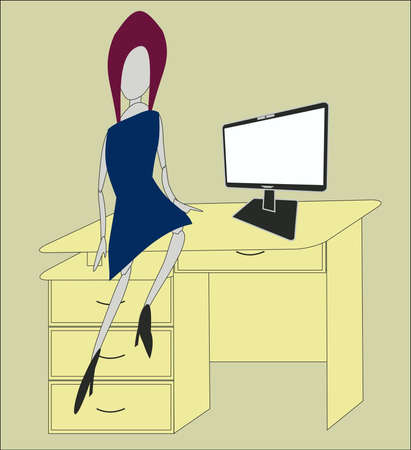 the woman at office sits on a table Illustration