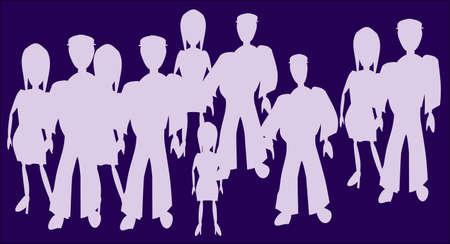 sacramental: group of people against a dark background Illustration