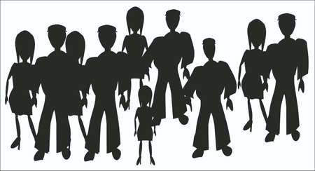 group of people on a white background, silhouettes Illustration