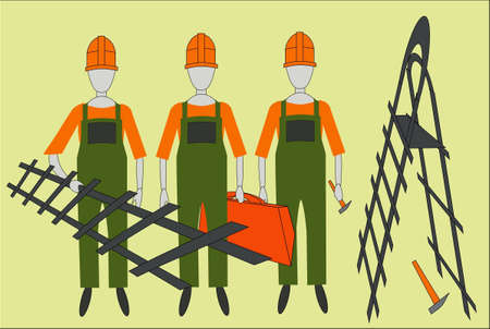 three builders with tools