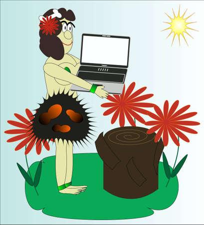 the primitive woman bears the laptop