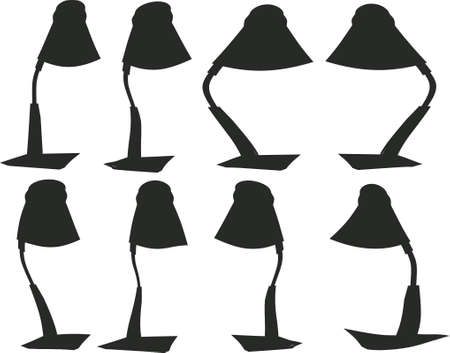 eight desk lamps, silhouettes Illustration