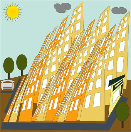 the district of the city consisting of multi-storey buildings Illustration