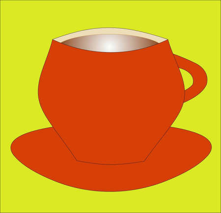 cup of red color with coffee