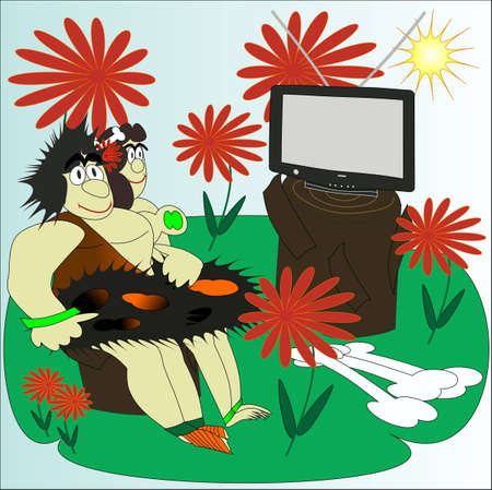 the primitive pair watches TV Stock Vector - 13452731