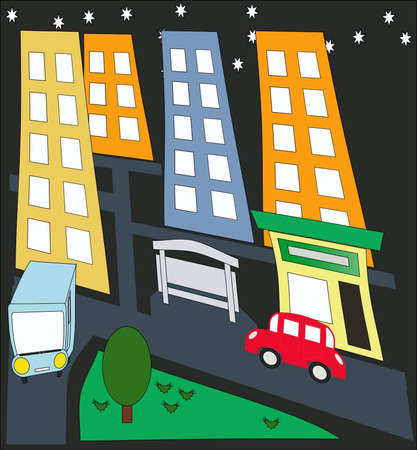 Life of the night city Stock Vector - 13759977