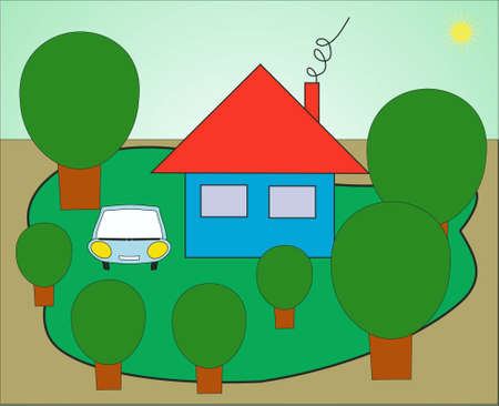 the house with car in an environment of trees Illustration