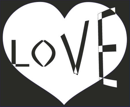 Love, black-and-white Vector