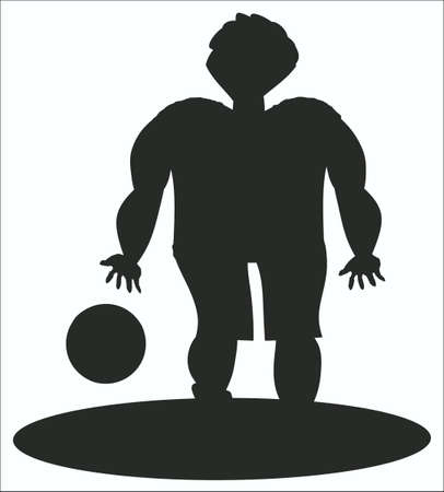 contour of the athlete with a ball