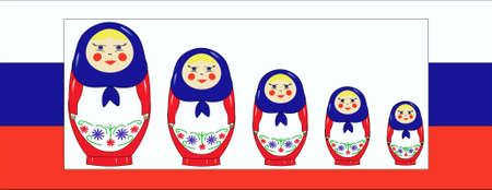 nested: Nested dolls against a flag of Russia