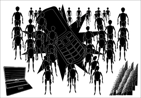 sacramental: modern technologies, black-and-white background Illustration