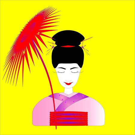 The geisha with an umbrella on a yellow background