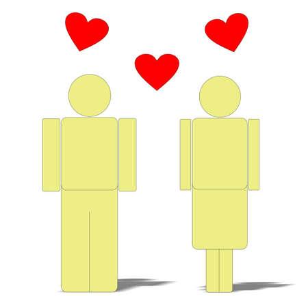 the man and the woman on a white background, love Stock Illustratie