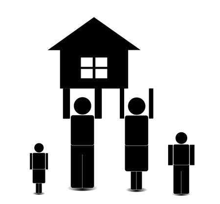 the father and mother hold the house, on a white background