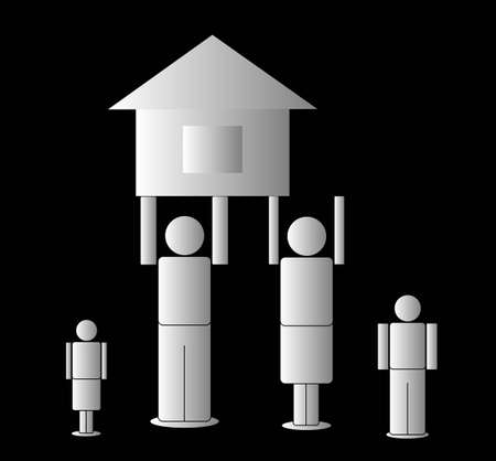 the father and mother hold the house, on a black background Stock Illustratie