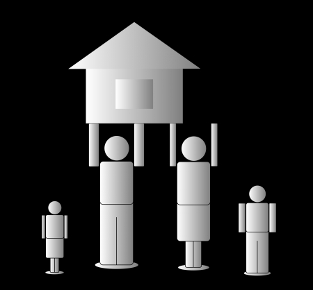 the father and mother hold the house, on a black background Stock Vector - 16740670