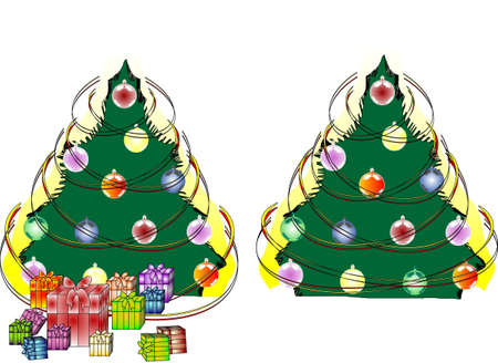 new year's: Two New Year s fir-trees Illustration