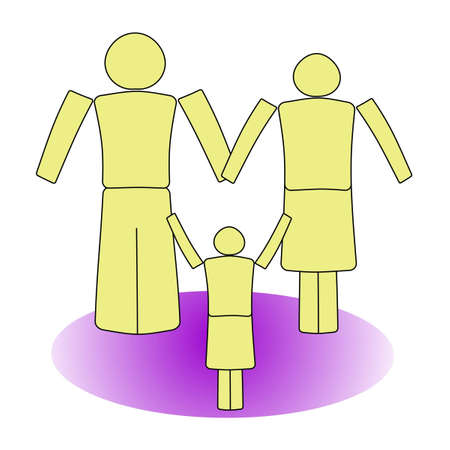 Family from three people on a white background