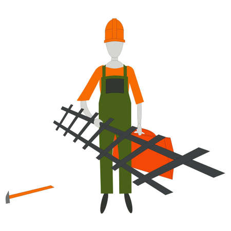 the builder with the tool on a white background