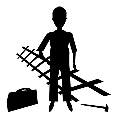 silhouette of the worker with the tool  Stock Illustratie