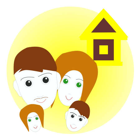 family from four people and a lodge  Stock Illustratie