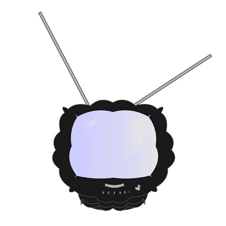 unusual TV of black color, vector