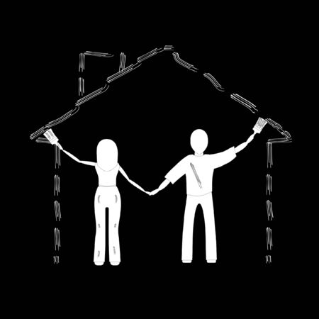 couple House draws on a black background Stock Vector - 19091216