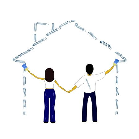 man and woman paint painted House Vector