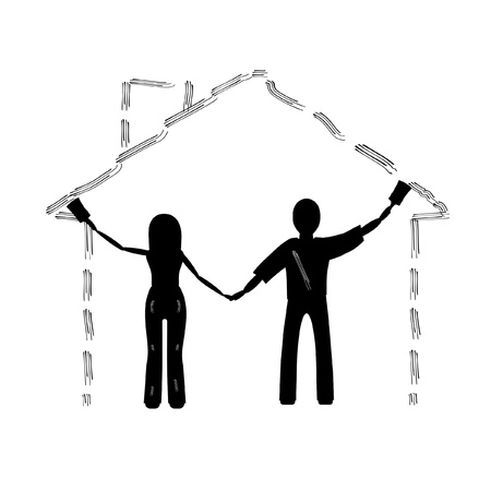 The couple draws a House, silhouette