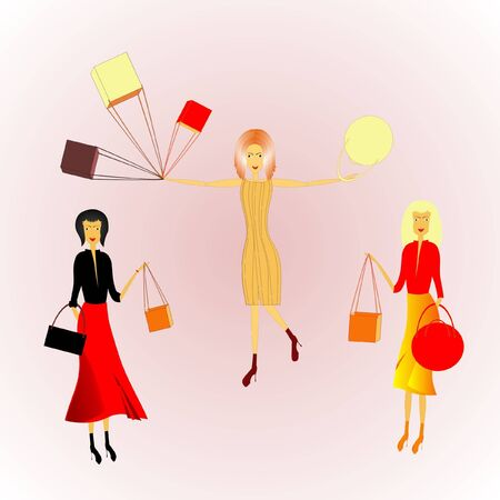 three women with bags and packages, vector Stock Illustratie