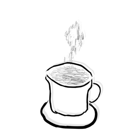 Cup of coffee on a white background, vector Stock Illustratie