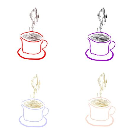 Four cups of coffee of different color, vector