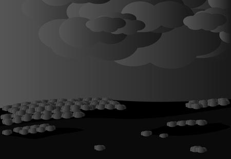 Landscape, cloudy weather Stock Illustratie