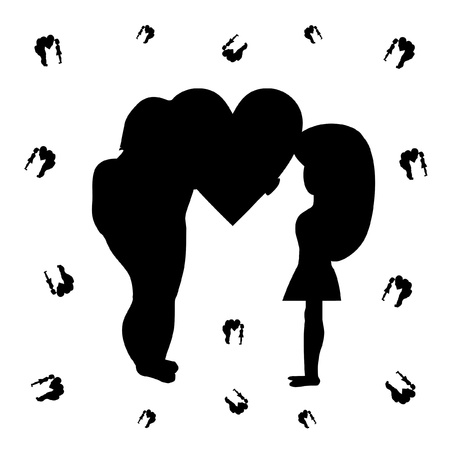 Silhouette of the man giving the heart to the woman