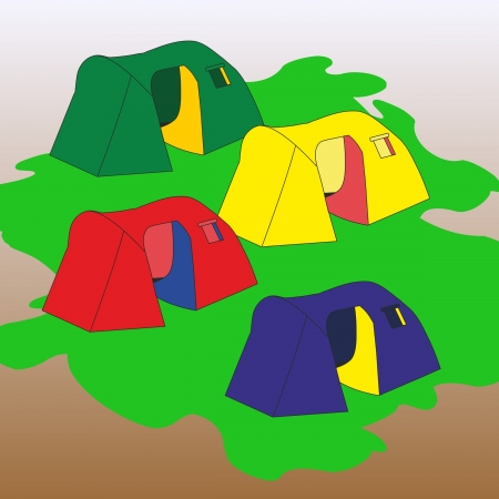group of four tourist tents of different color