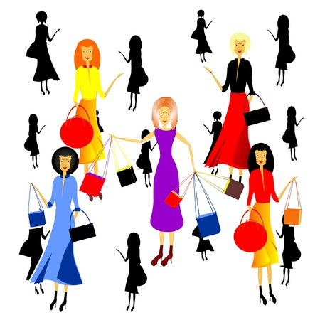 women and shopping Stock Vector - 20184123