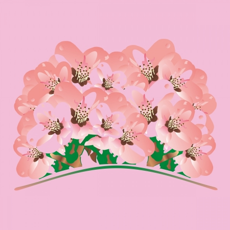 hillock: bunch of flowers on a pink background
