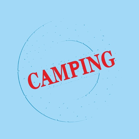 CAMPING inscription on a blue background, vector
