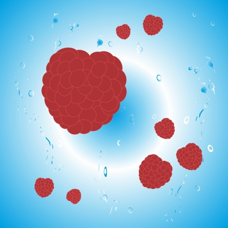 Raspberry berries on a blue background of water