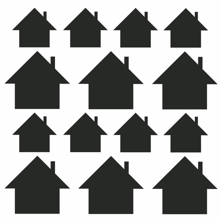 Silhouettes of lodges on a white background Stock Illustratie