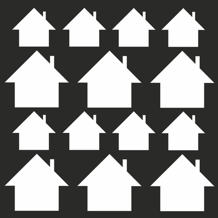 small group of objects: Group of houses on a black background