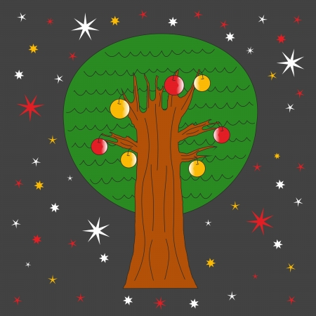tree with apples on a dark festive background
