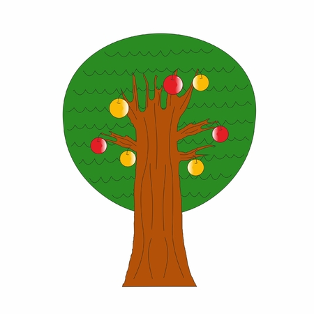 tree with apples Vector